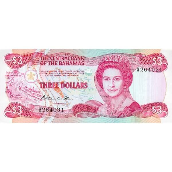 1984 - Bahamas P44 billete de 3 Dólares