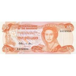 1984 - Bahamas P45b 5 Dollars banknote