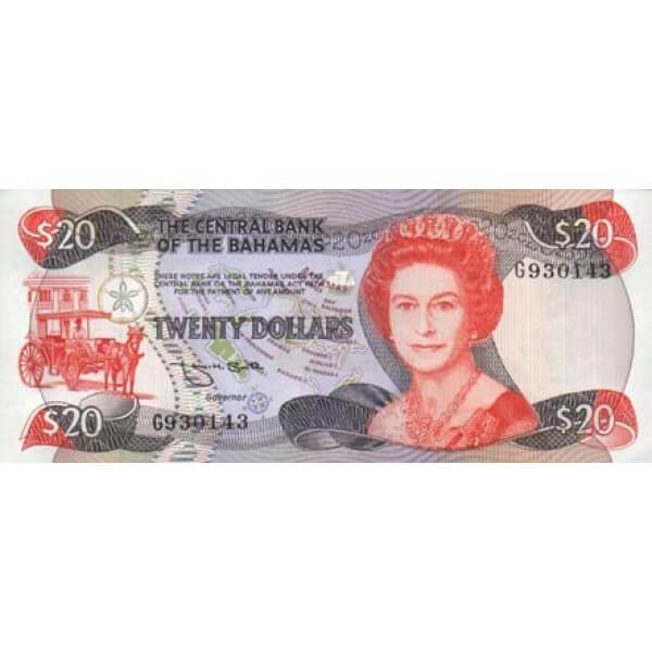 1984 - Bahamas P47b billete de 20 Dólares