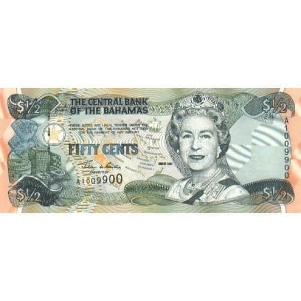 2001 - Bahamas P68 billete de 50 Centavos