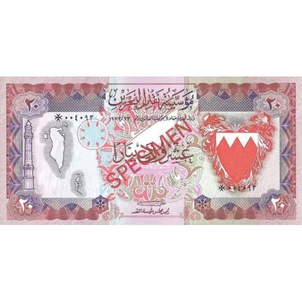 1978 - Bahrain pic 10s  billete de 20 Dinars Especimen