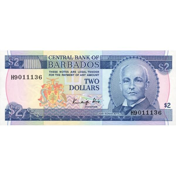 1986 - Barbados P36 2 Dollars banknote