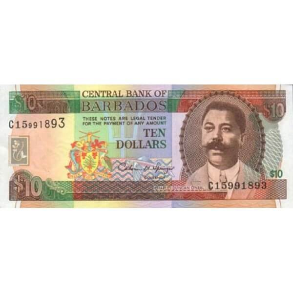 1995 - Barbados P48 billete de  10 Dólares
