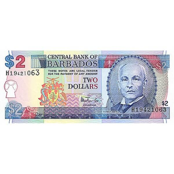 1988 - Barbados P54b 2 Dollars banknote