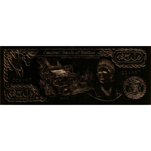 1984 - Belize P-CS1 50 Dollars banknote GOLD Foil