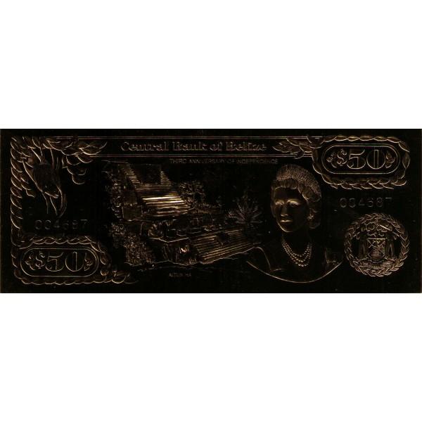 1984 - Belize P-CS1 billete de 50 Dólares GOLD