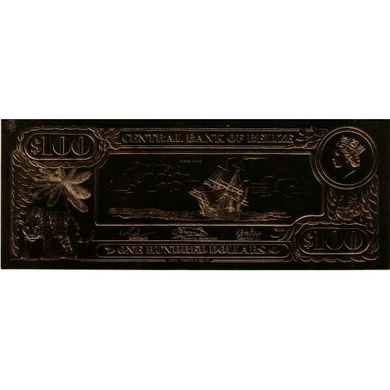 1984 - Belize P-CS1 100 Dollars GOLD banknote