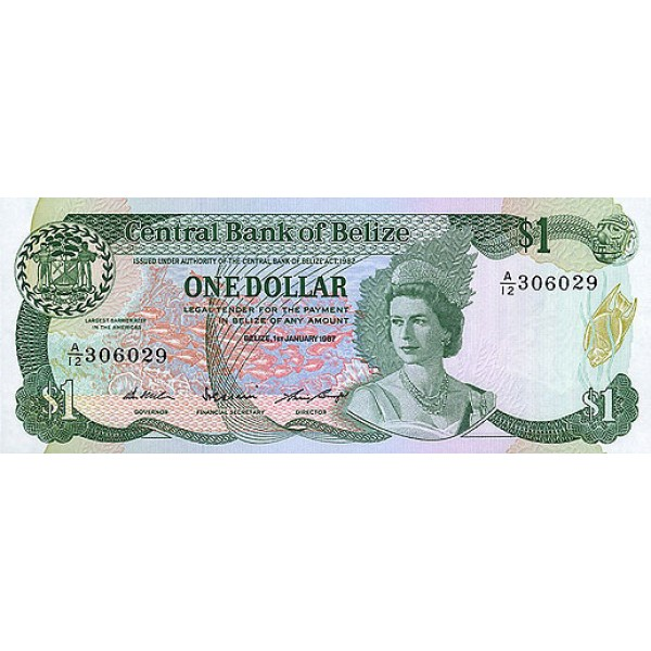 1987 - Belize P46c billete de 1 Dólar