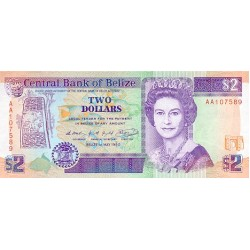 1990 - Belize P52a 2 Dollars banknote