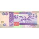 1990 - Belize P52a billete de 2 Dólares