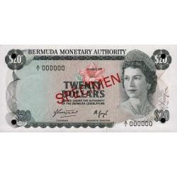 1984 - Bermuda P31cs 20 Dollars banknote Specimen