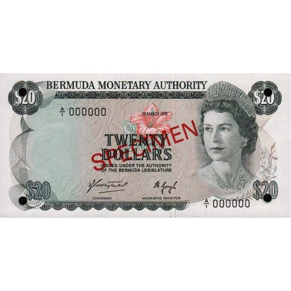 1984 - Bermuda P31cs billete de 20 Dólares Specimen