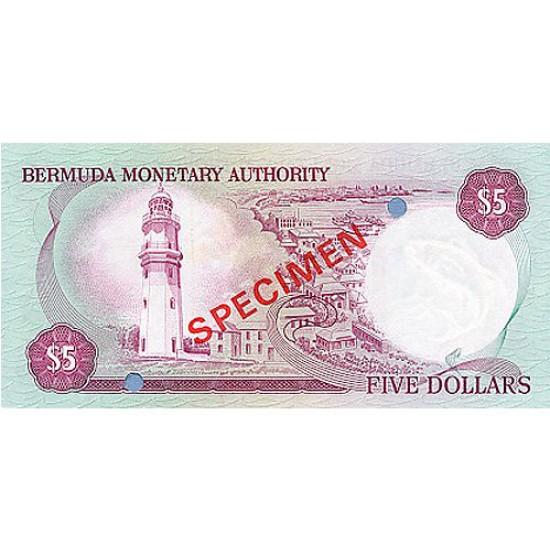 1978 - Bermuda P29as 5 Dollars banknote Specimen