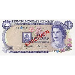 1978 - Bermuda P30as 10 Dollars  banknote Specimen