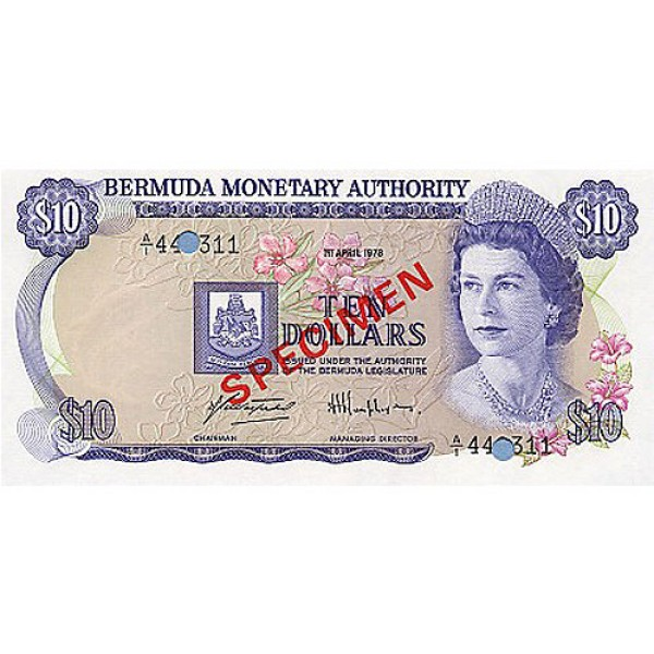 1978 - Bermuda P30as 10 Dollars  banknote Specimen