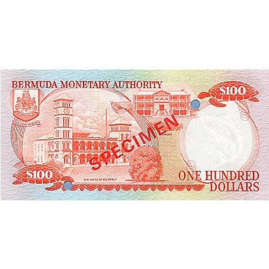 1982 - Bermuda P33as 100 Dollars  banknote Specimen