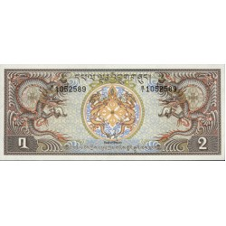 1981 - Bhutan PIC 6     2 Ngultrum  banknote