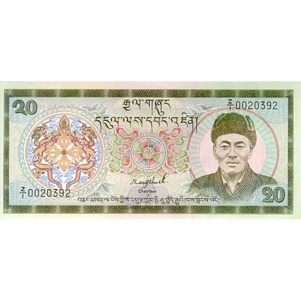 1992 - Bhutan PIC16b     20 Ngultrum  banknote