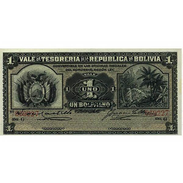 1902 - Bolivia P92 billete de 1 Boliviano