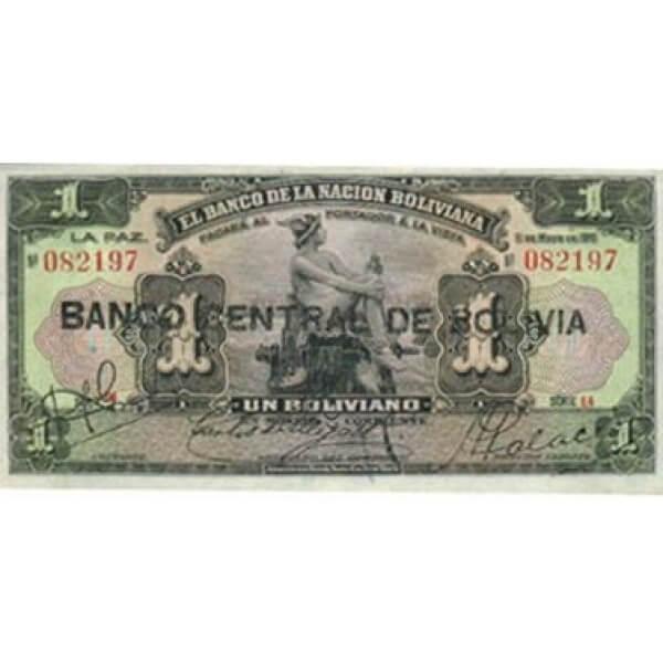 1929 - Bolivia P112 billete de 1 Boliviano