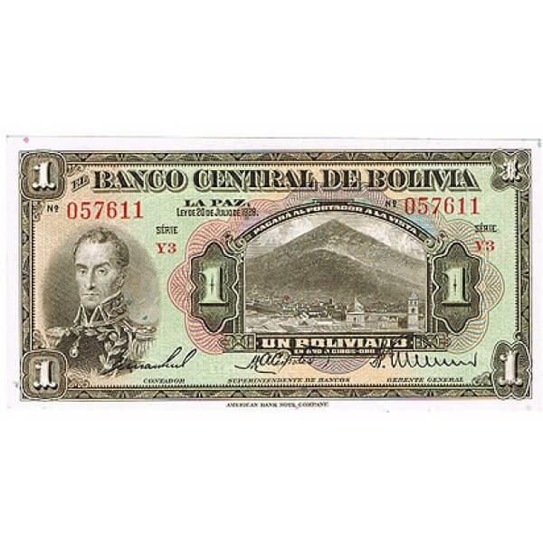1928 - Bolivia P118 1 Boliviano banknote