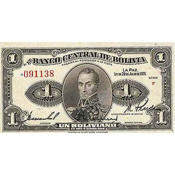 1928 - Bolivia P119 billete de 1 Boliviano