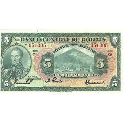 1928 - Bolivia P120 5 Bolivianos banknote
