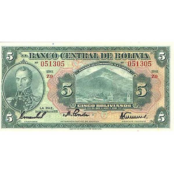 1928 - Bolivia P120a billete de 5 Bolivianos