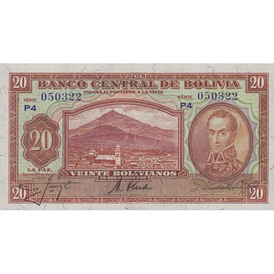 1928 - Bolivia P122 20 Bolivianos  banknote