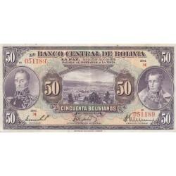 1928 - Bolivia P124  50 Bolivianos banknote