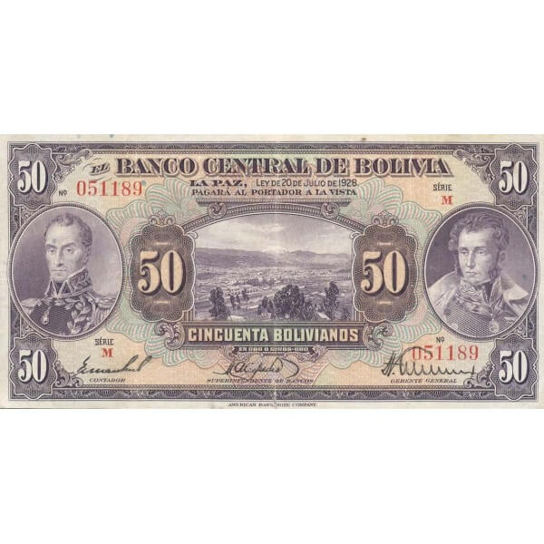 1928 - Bolivia P124 billete de 50 Bolivianos