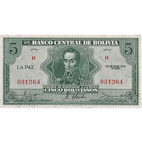 1928 - Bolivia P129 billete de 5 Bolivianos