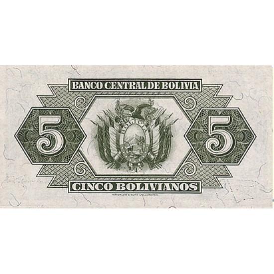 1928 - Bolivia P129 5 Bolivianos  banknote