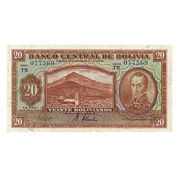 1928 - Bolivia P131 billete de 20 Bolivianos