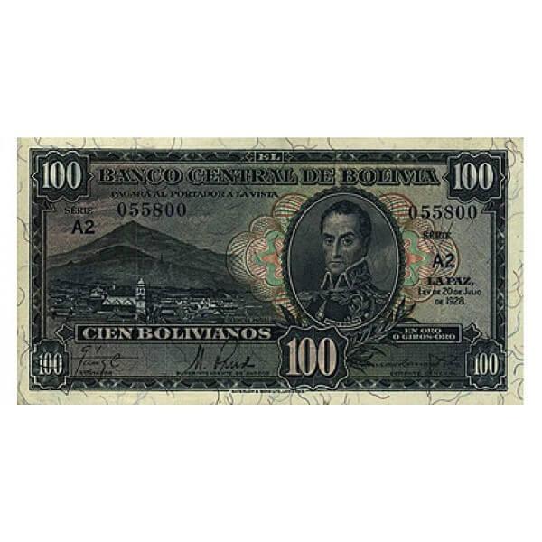 1928 - Bolivia P133 billete de 100 Bolivianos