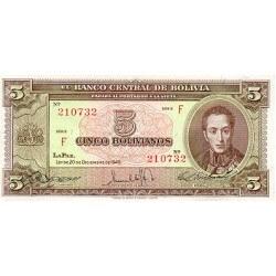1945 - Bolivia P138 5 Bolivianos banknote