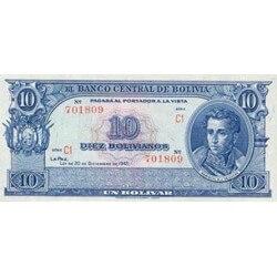 1945 - Bolivia P139a 10 Bolivianos banknote