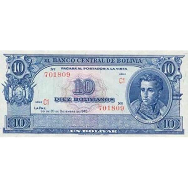 1952 - Bolivia P139b 10 Bolivianos banknote