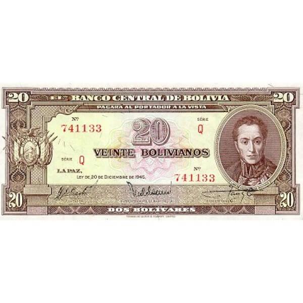 1945 - Bolivia P140a billete de 20 Bolivianos