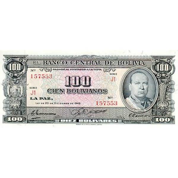 1945 - Bolivia P147  100 Bolivianos banknote