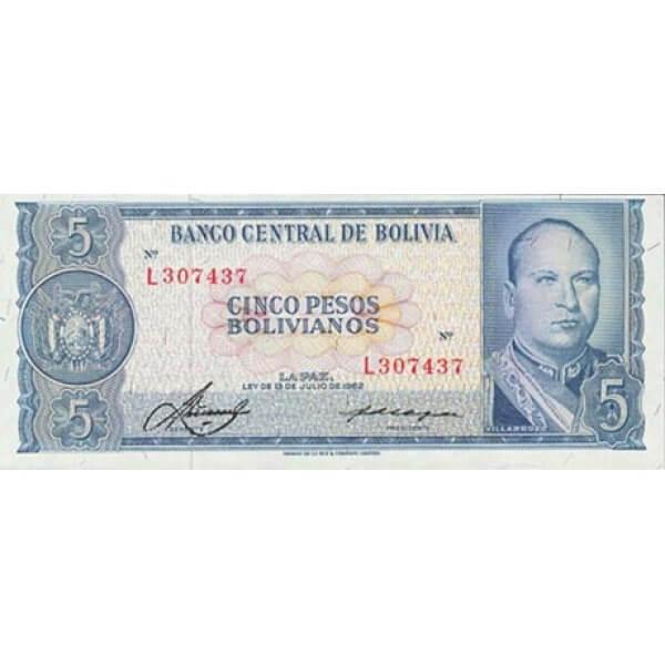 1962 - Bolivia P153a billete de 5 Pesos Bolivianos