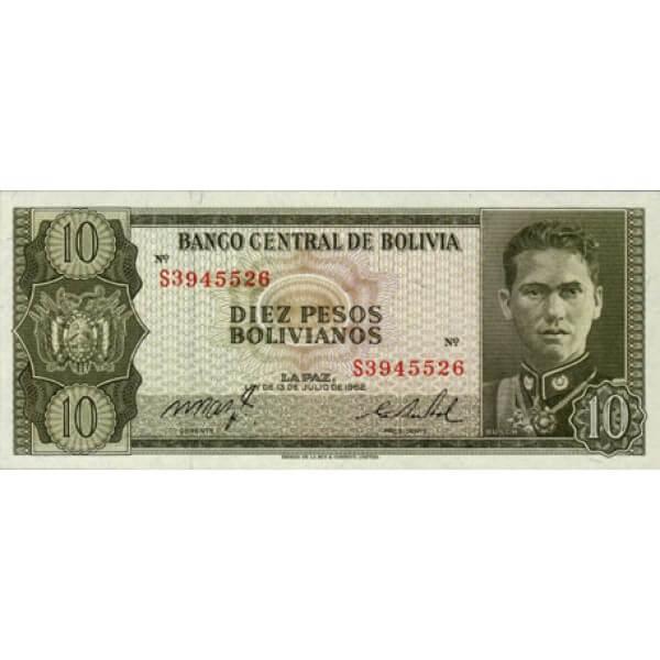 1962 - Bolivia P154a  billete de  10 Pesos Bolivianos