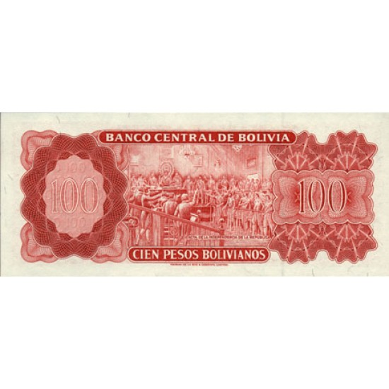 1962 - Bolivia P157 100 Bolivianos  banknote