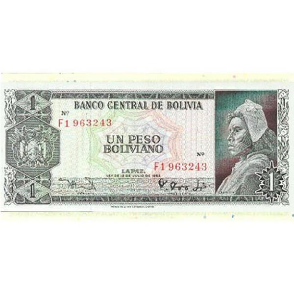 1962 - Bolivia P158 billete de 1 Boliviano Usado EBC