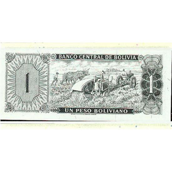 1962 - Bolivia P158 1 Boliviano banknote VF Used