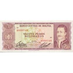 1962 - Bolivia P161 20 Pesos Bolivianos  banknote