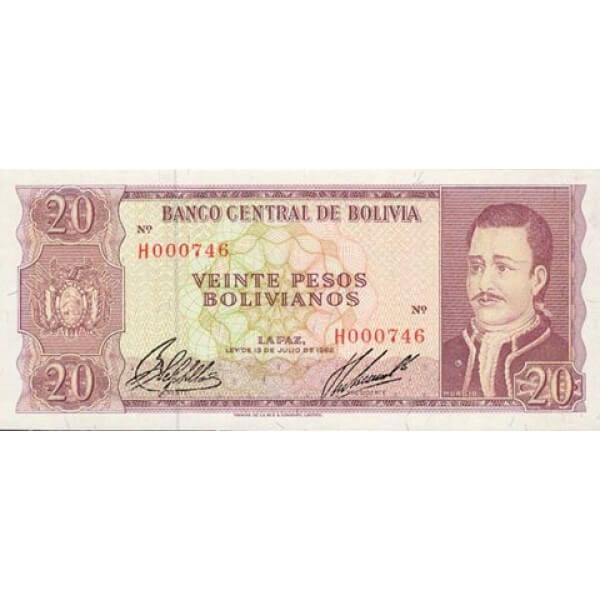 1962 - Bolivia P161 billete de  20 Pesos Bolivianos