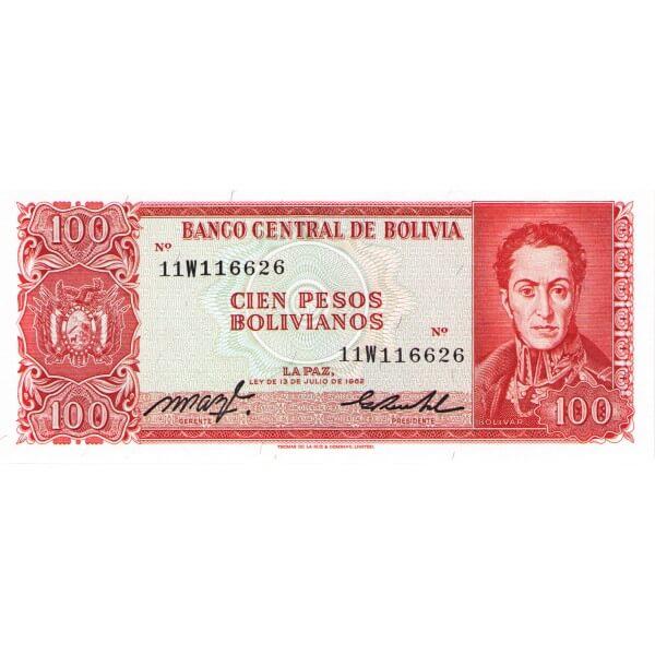 1983 - Bolivia P164a billete de 100 Pesos Bolivianos