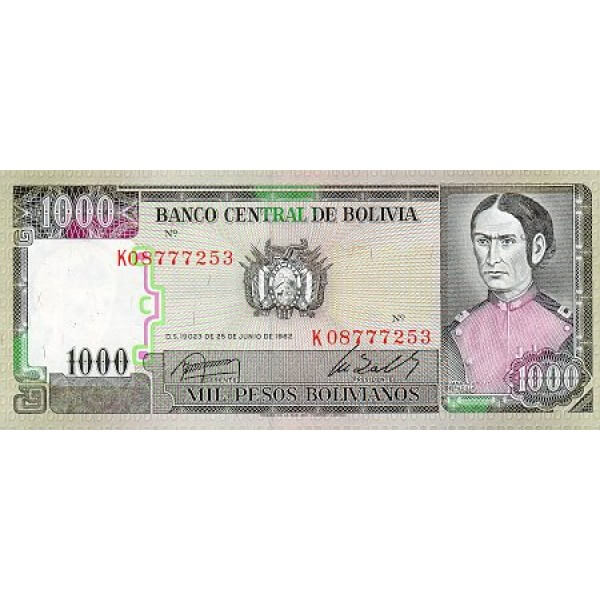 1982 - Bolivia P167 billete de 1.000 Pesos Bolivianos