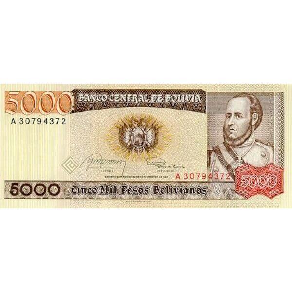 1984 - Bolivia P168 5,000  Pesos Bolivianos banknote